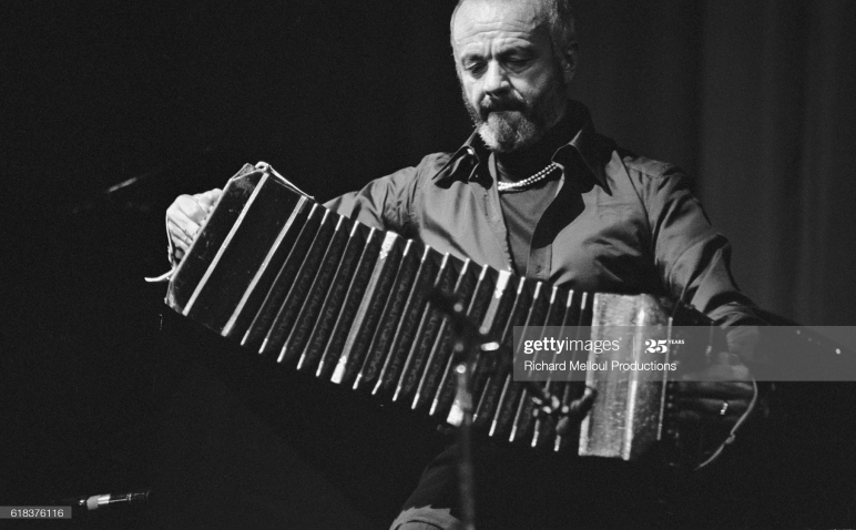 Argentine jazz and tango musician Astor Piazzola plays the bandoneon during a performance at the Olympia in Paris. (Photo by © Richard Melloul/Sygma/CORBIS/Sygma via Getty Images)